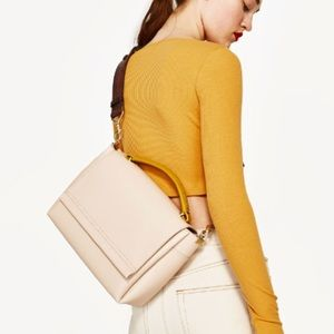 Zara beige pale pink crossbody bag